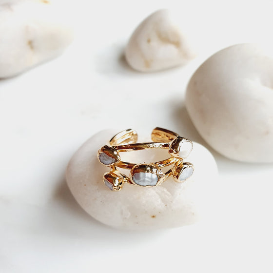 Five Stone Pearl Ring