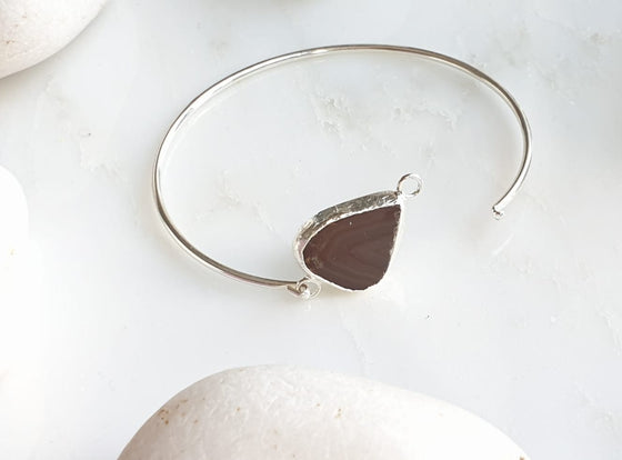 Brown Sardonyx Agate silver plated bangle