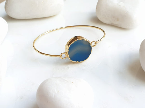 Blue Sardonyx one stone bangle