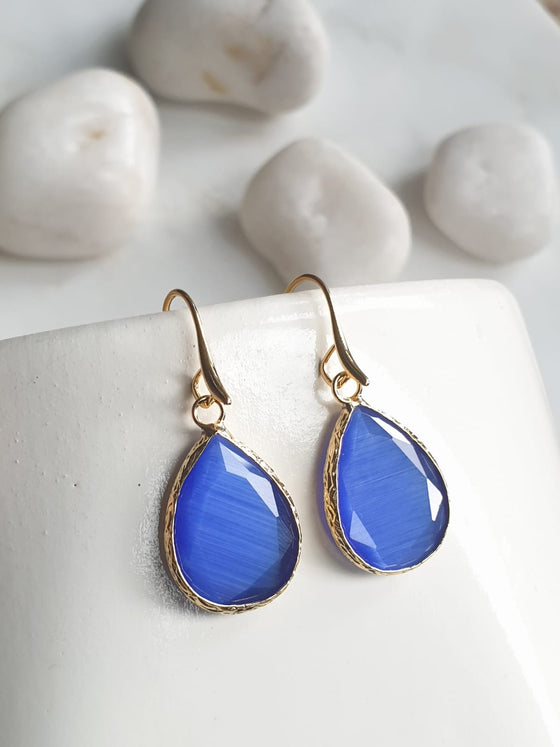 Blue Cat's Eye Earrings
