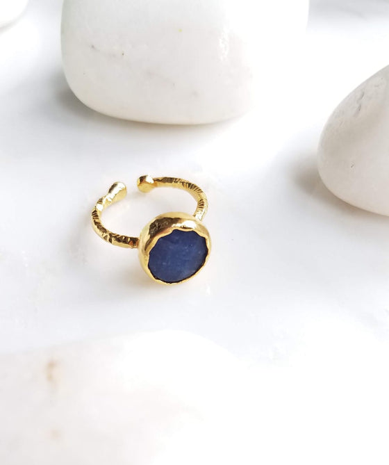 Blue Jade one stone ring