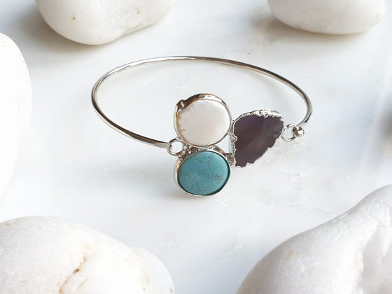 Turquoise, Sardonyx Agate and Pearl bangle