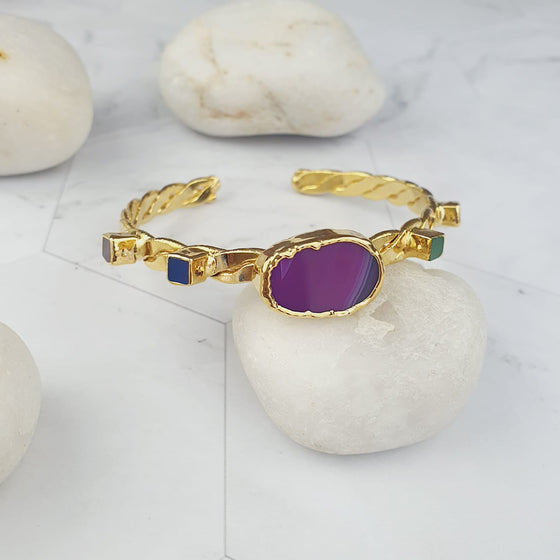 Liyana pink agate and cats eye stone twist bangle
