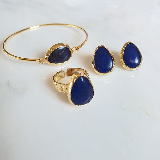 Navy Agate earrings, Ring and Bangle set