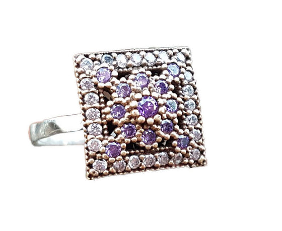 Irem Amethyst Purple 925 Silver Square Ring