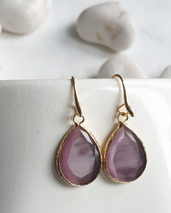Dark Pink Cat's Eye Earrings