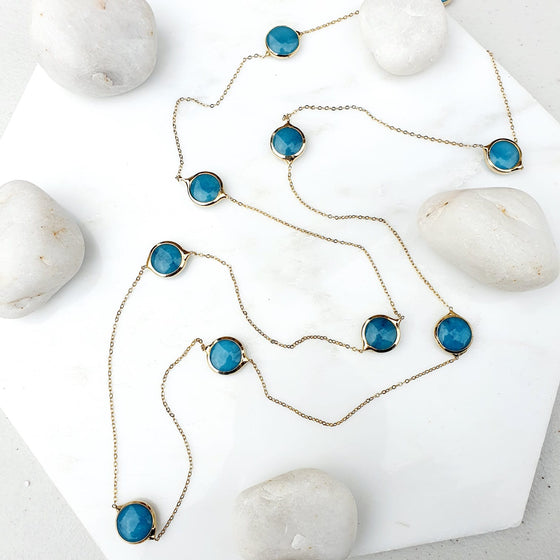 Blue Jade chain necklace