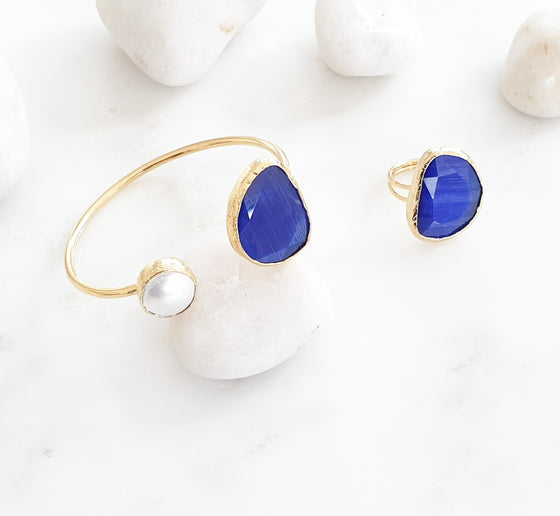 Royal  Blue Cat's eye and Pearl bangle and ring set