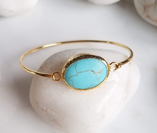 Turquoise One Stone Bangle