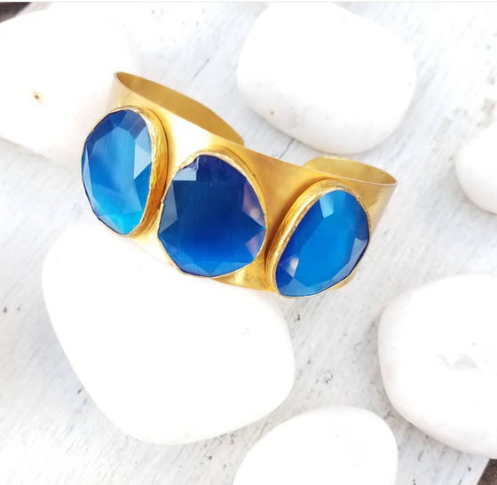 Blue Cat's Eye Cuff