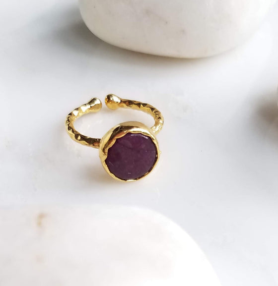 Dark Purple Jade one stone ring