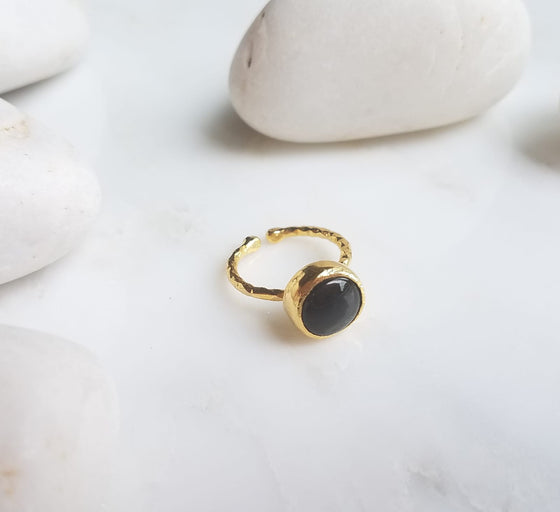 Black Jade one stone ring