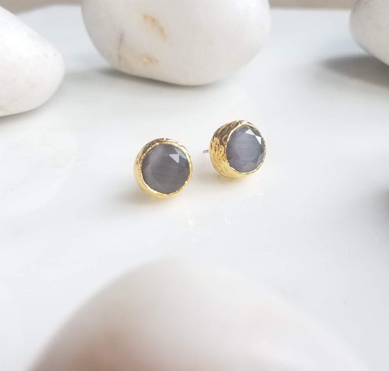 Grey Cat's Eye Studs