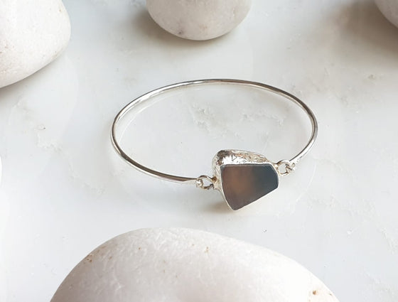 Agate silver plated bangle