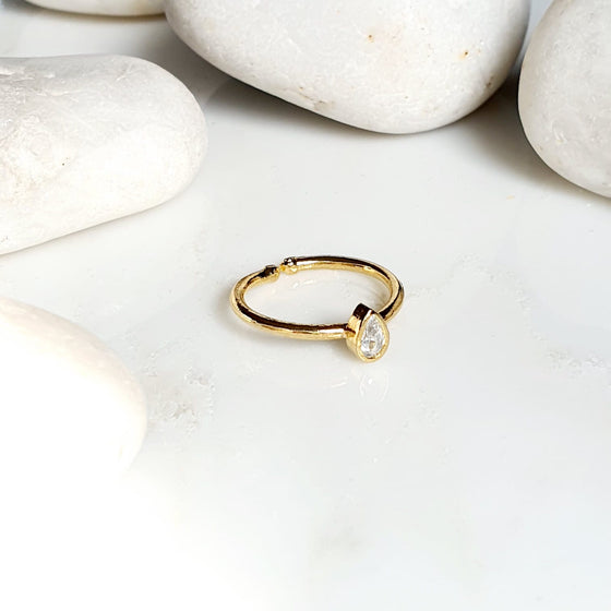 Stackable Small Teardrop Crystal Ring