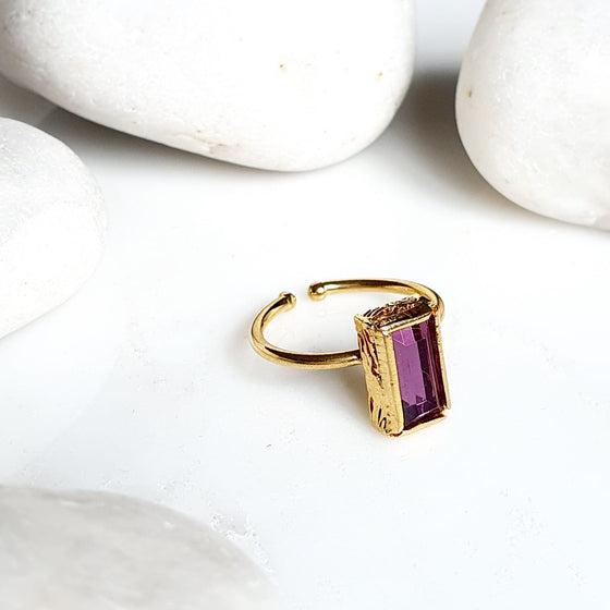 Stackable Purple Rectangle  Ring