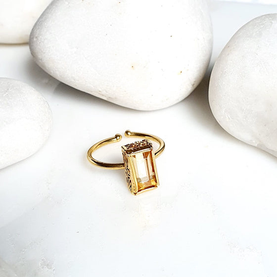 Stackable Yellow Rectangle  Ring