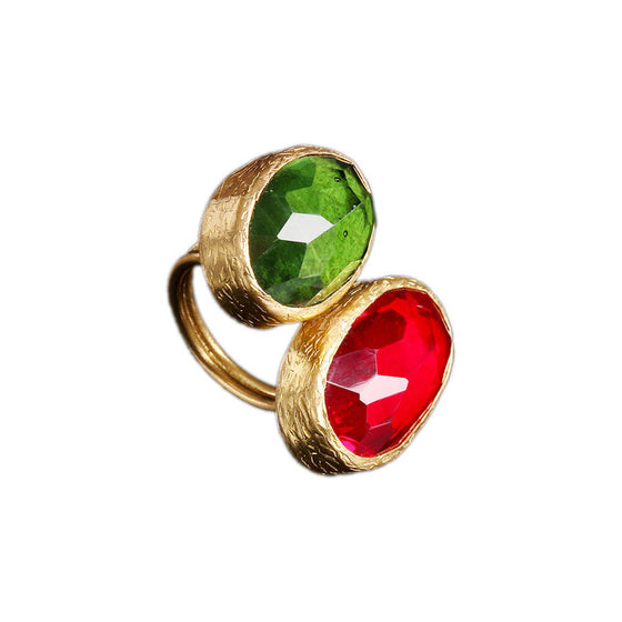 Mihrishah Red And Green Ring