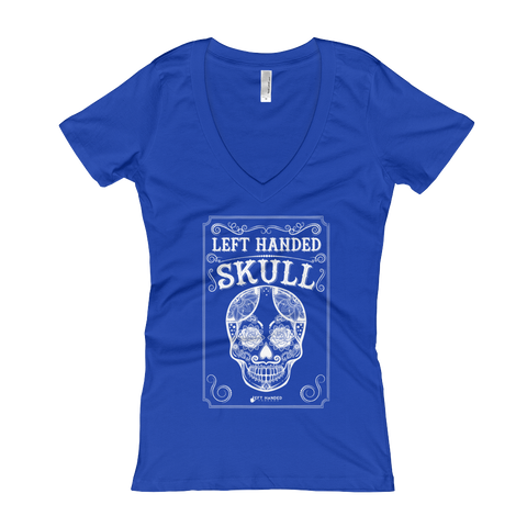 Left Handed Skull Women's V-Neck