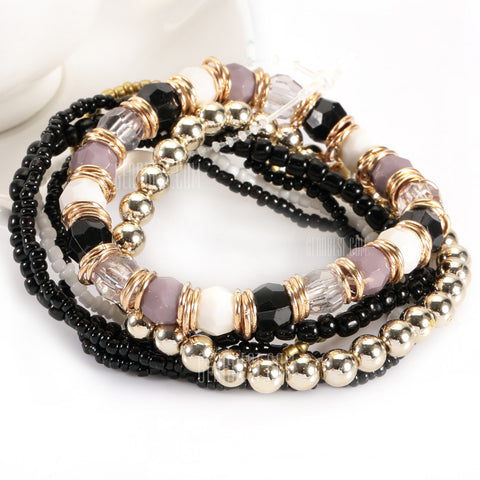 Retro Multi Layers Bead Stretch Bracelets