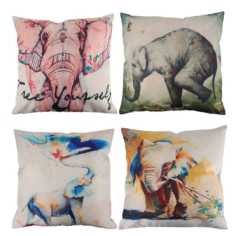 Elephant Pattern Cotton Pillow Cover