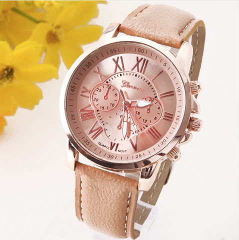 NEW Geneva Platinum Women's Leather Wristwatch