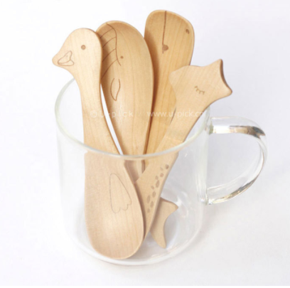4 pcs Wooden Cartoon Animal Spoon Set