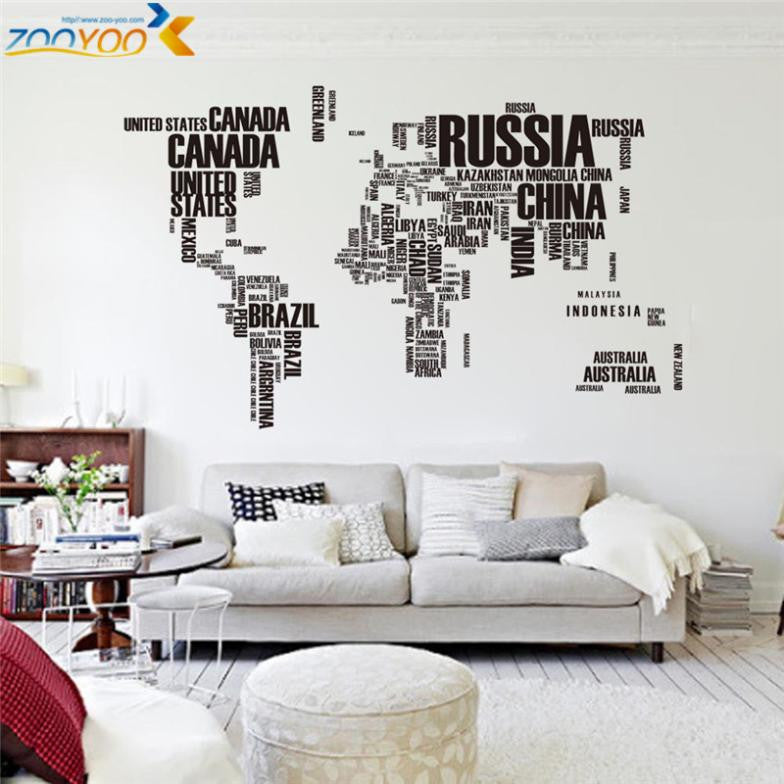 creative world map wall stickers