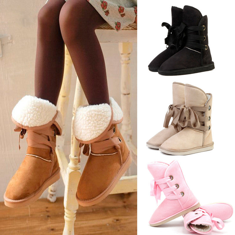 Women's Fashion Mid-Rising Tie Boots- FREE SHIPPING