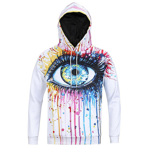 Men's Pull Over Eye Ocean Tears Casual Hoodie