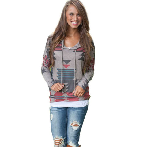 Women's Geometric Printed Sweatshirt- FREE SHIPPING!