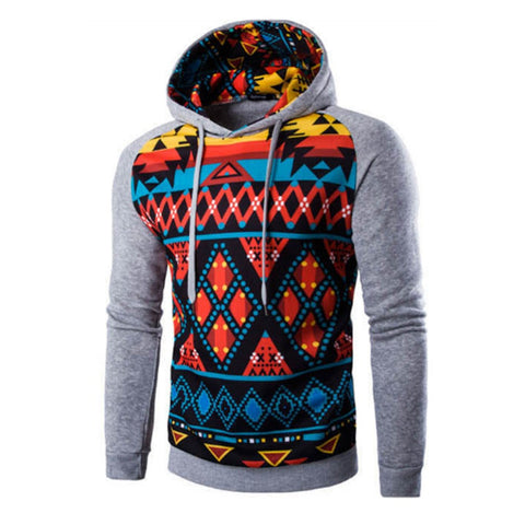 Men's Gray & Red Geometric Pullover Hoodie
