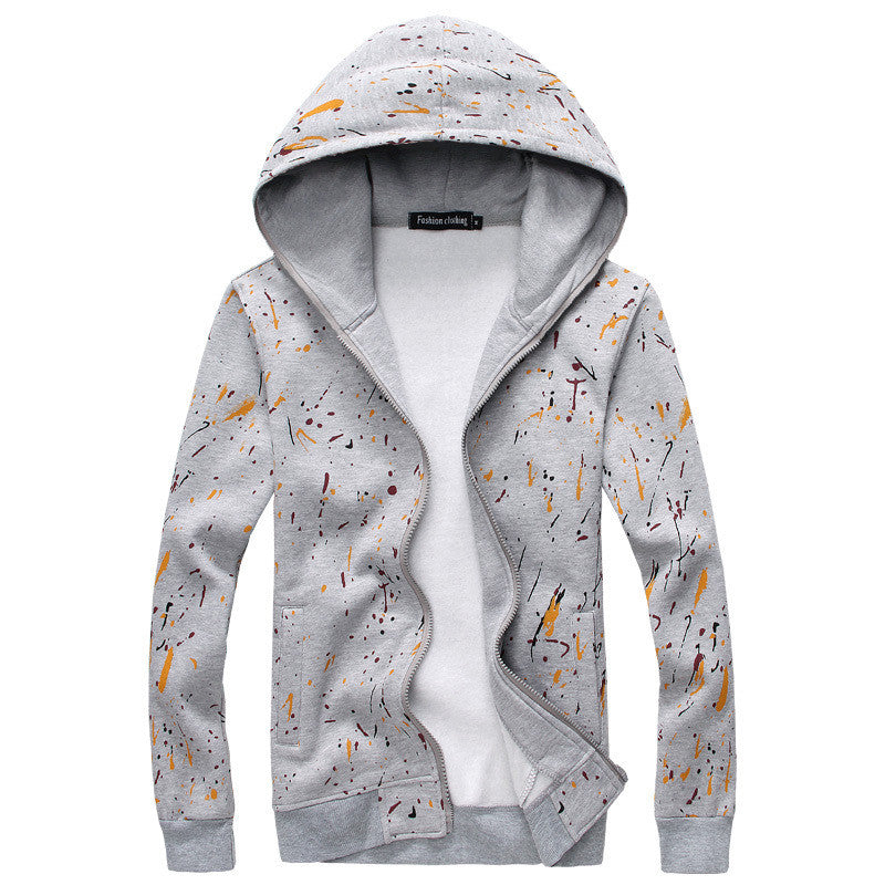 Men's Paint Splattered Fleece Hoodie