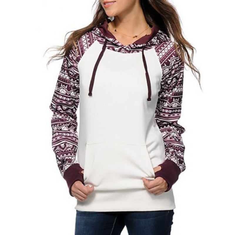 MARKED DOWN- Women's White & Black Geometric Long Sleeve Pullover Hoodie