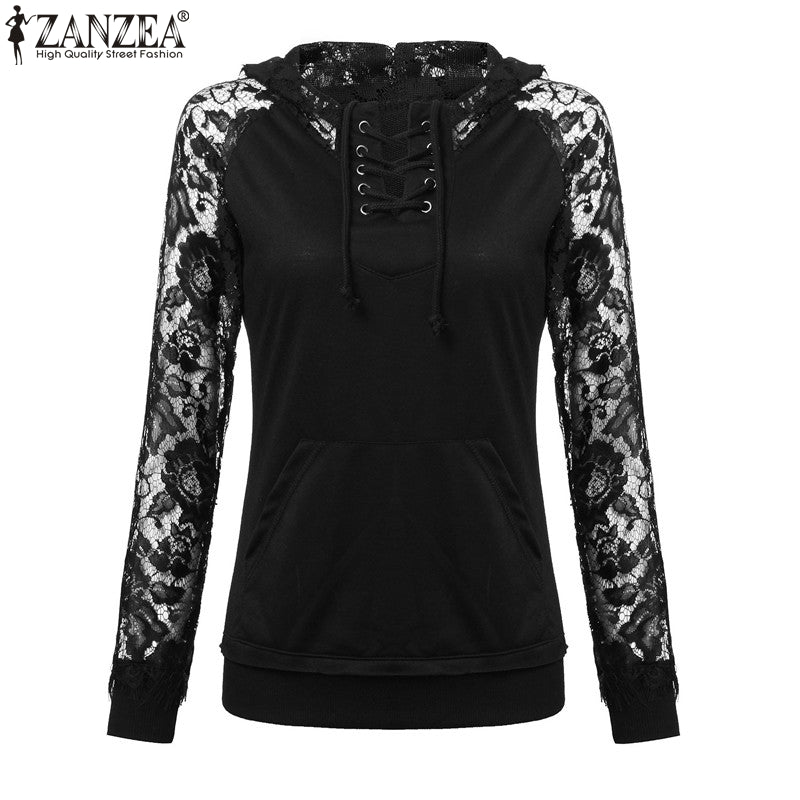 Women's Lacey Long Sleeve Sexy Pullover