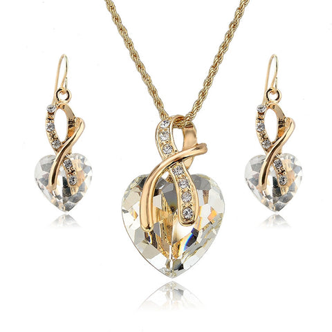 Crystal Heart Necklace & Earrings Jewelry Set