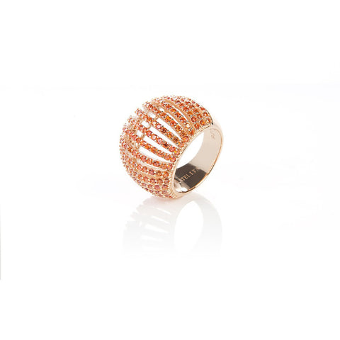 22ct Gold Vermeil Micro pave Comb Ring - Orange Zircon