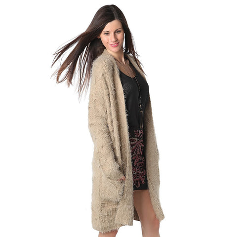 Beige supersoft cardigan with fluffy finish