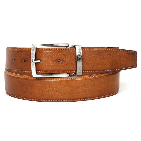 PAUL PARKMAN Men's Leather Belt Hand-Painted Tobacco (ID#B01-CML)