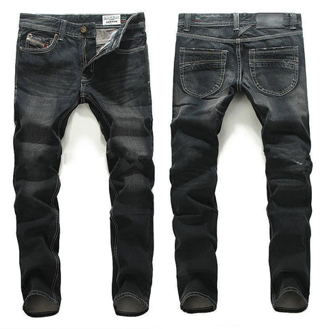 High Straight Denim Pants Men Homme Ripped