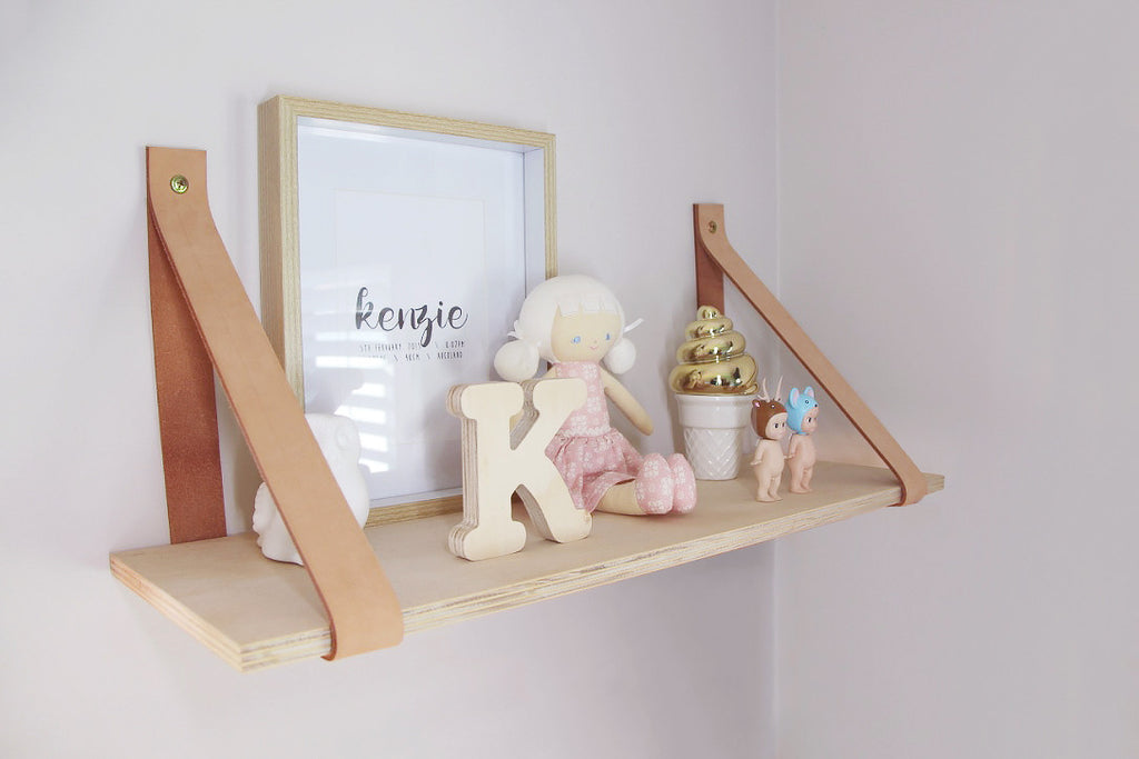 Leather Strap Plywood Shelf - Inkydot Design