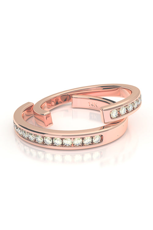 Cuff with Diamonds 14k Rose Gold