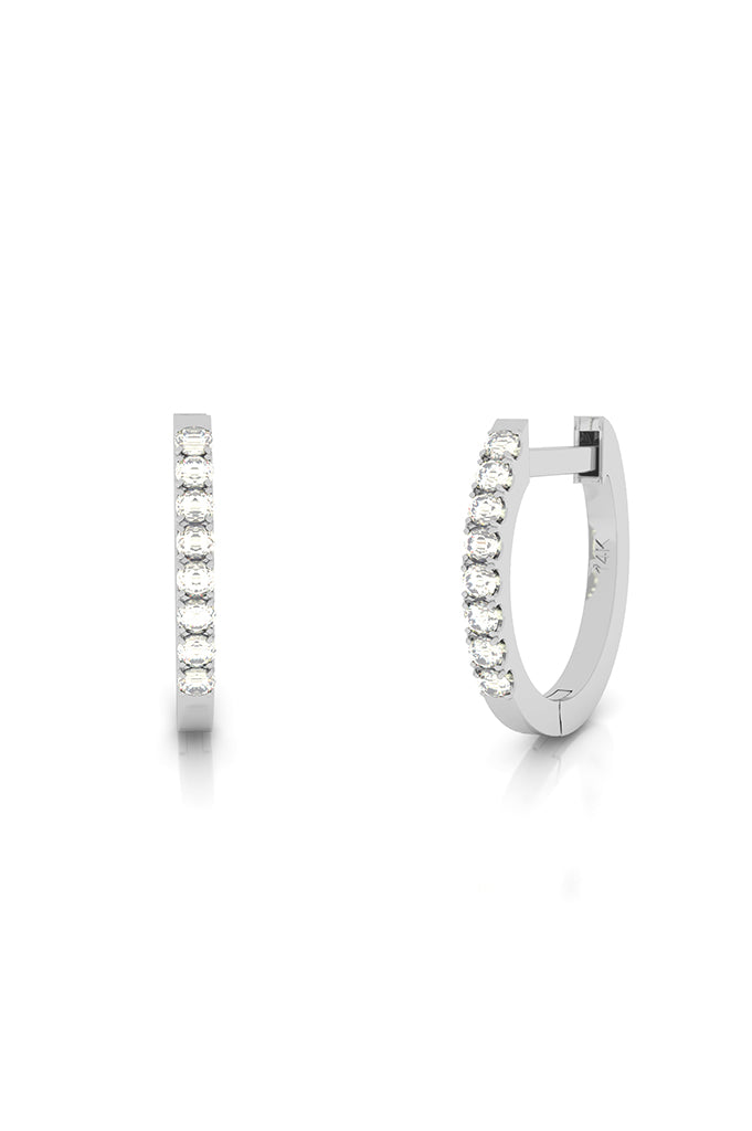 Endless Huggies with Diamonds 14k White Gold