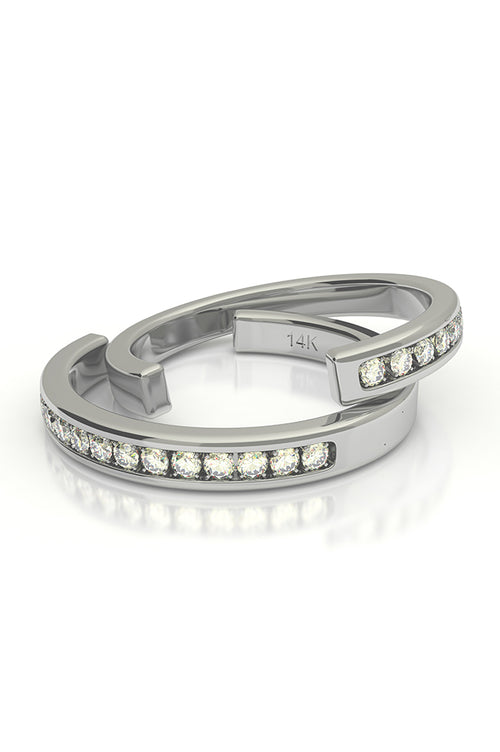 Cuff with Diamonds 14k White Gold