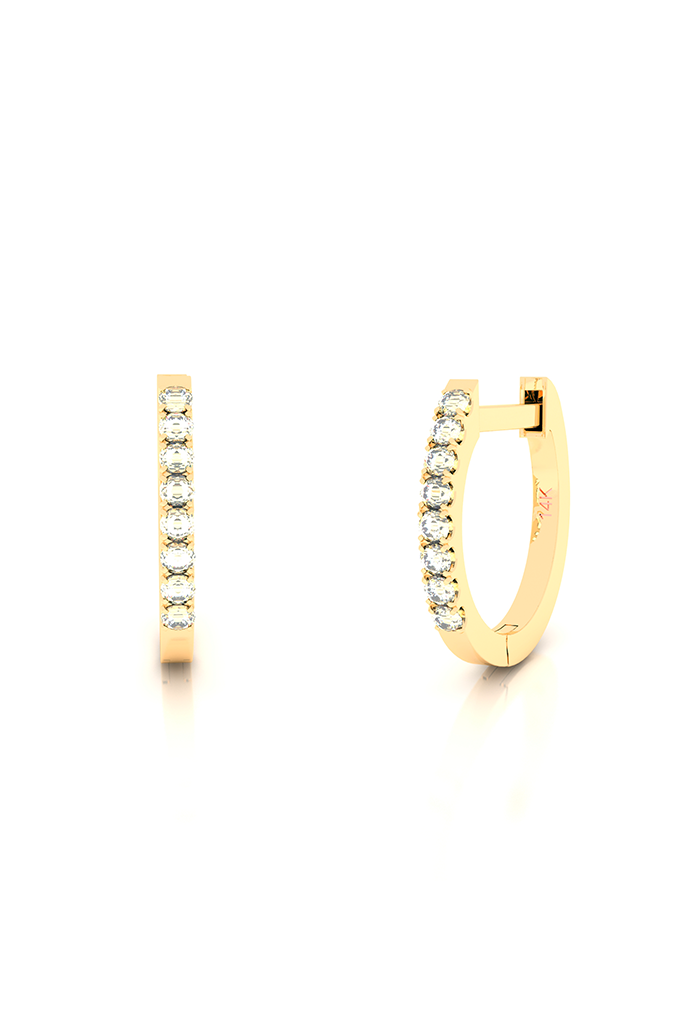 Endless Huggies with Diamonds 14k Yellow Gold