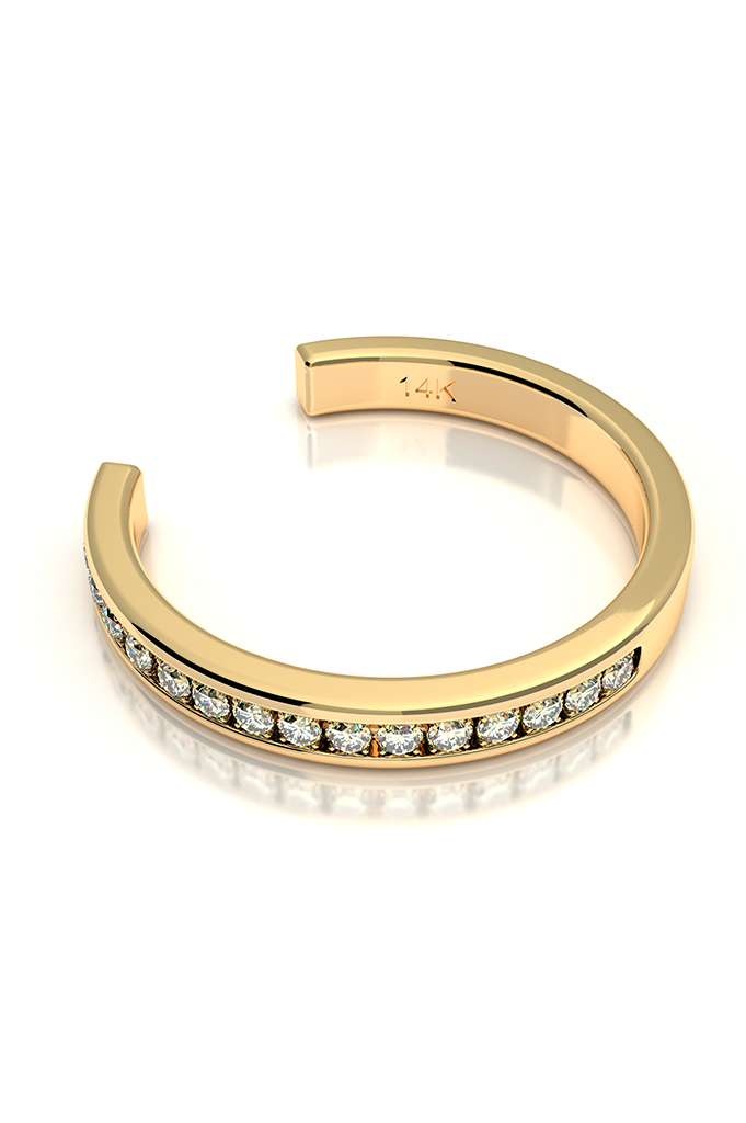 Cuff with Diamonds 14k Yellow Gold