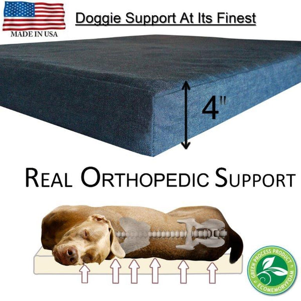 Premium Dog Beds - GEL Orthopedic Memory Foam - 100% Made in USA - Luxury Washable Pet Bed