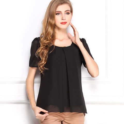 Korean Style Solid Chiffon Women Blouse Summer Free Shipping O-Neck Drop Shipping Blouse  - Vut Store