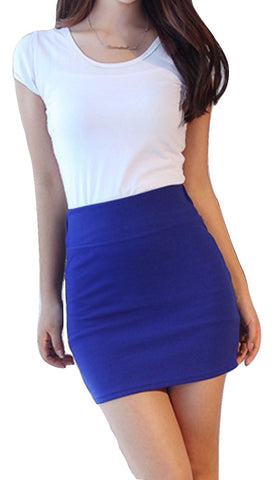 Women's Pencil Skirts High Waist Tutu Bandage Candy Color Mini Skirts