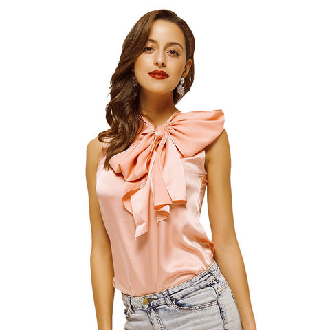 Blusa Blusas Body Bow Blouse for Women Summer Vintage Fashion of Sexy OL Sleeveless Collar-Women Blouse-VutStore